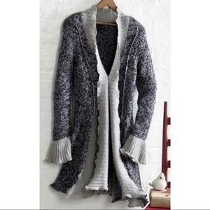 Country Door Ruffled Cardigan Sweater Large Gray